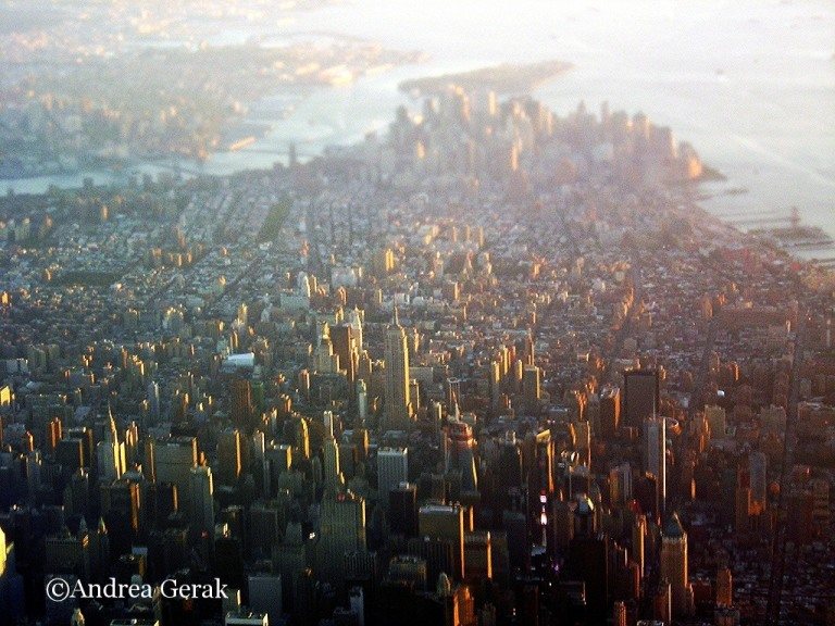 Manhattan sunset from the air