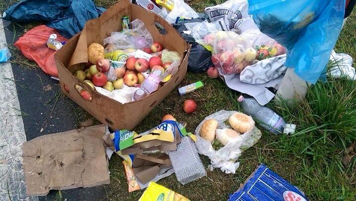 Food thrown away by migrants in Hungary