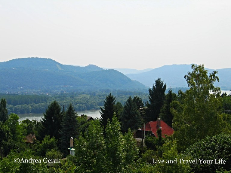 Danube Bend and Visegrád on a hot summer day, seen from Verőce