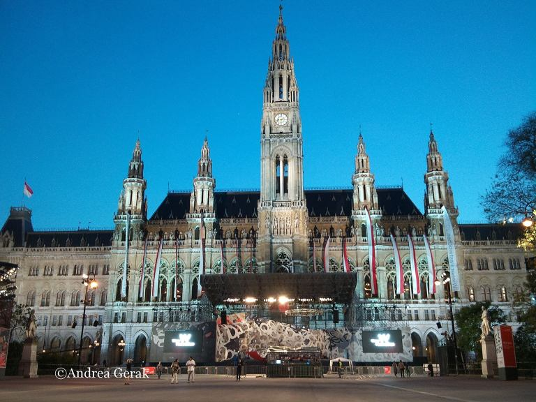 Wiener Rathaus (Vienna City Hall) with the festival stage of Wiener Festwochen 2013